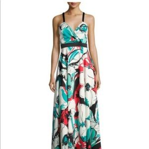 Nicole Miller Banded-Waist Floral-Print Maxi Gown